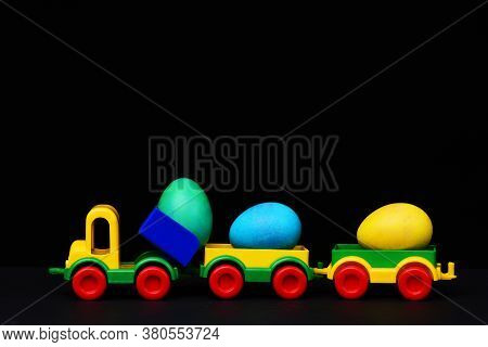 Traditional Eggs In Plastic Colorful Car Toy Or Locomotive