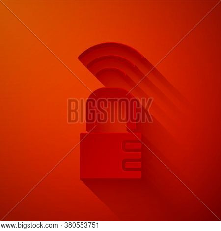 Paper Cut Smart Safe Combination Lock Icon Isolated On Red Background. Combination Padlock. Security
