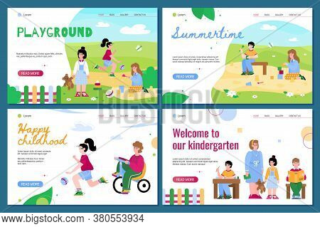 Set Of Web Page Templates For Kindergarten And Children Summer Playground With Little Kids, Flat Car