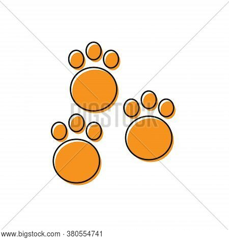 Orange Paw Print Icon Isolated On White Background. Dog Or Cat Paw Print. Animal Track. Vector