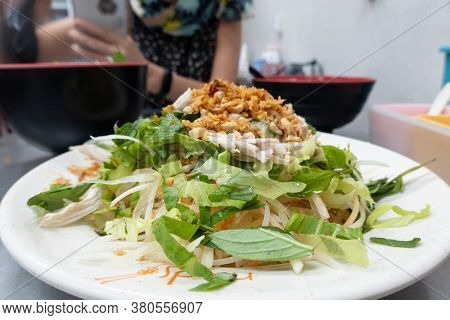 thai style shredded chicken salad with vegetable at Taiwan