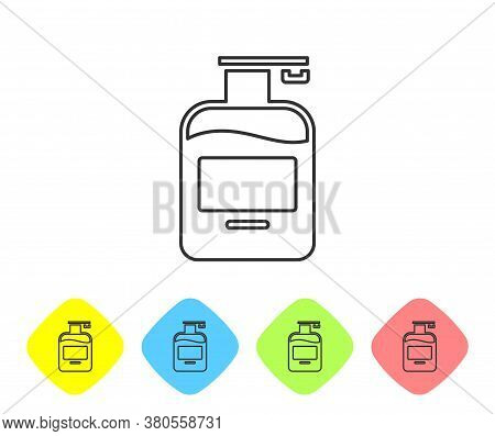 Grey Line Bottle Of Liquid Antibacterial Soap With Dispenser Icon Isolated On White Background. Anti