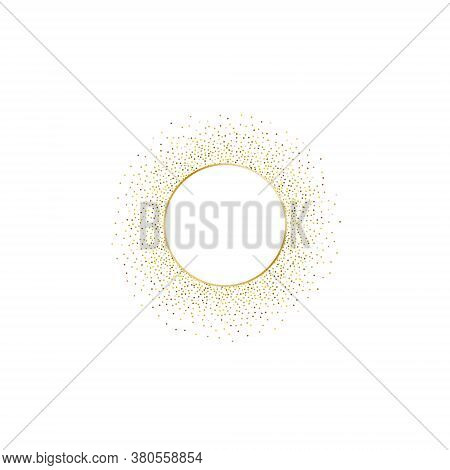 Golden Splash Or Glittering Spangles Frame With Empty Center For Text. Golden Glittering Circle Made