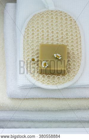 Handmade Herbal Soap, Washcloth And Cotton Towel.