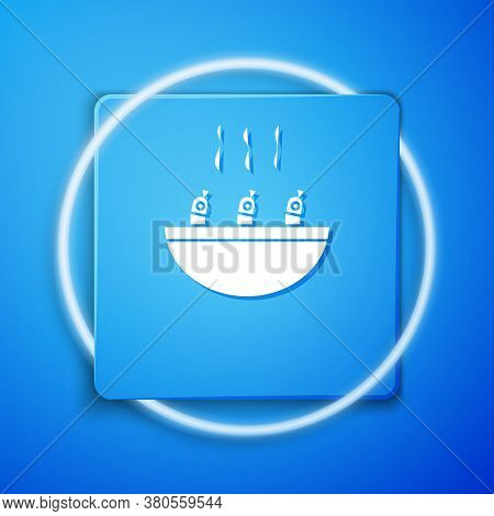 White Soup With Shrimps Icon Isolated On Blue Background. Tom Yum Kung Soup. Blue Square Button. Vec