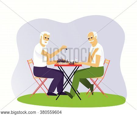 Two Grown Men Are Playing Chess. Leisure Of Aged People. Board Game For Two People. Chess Stands On
