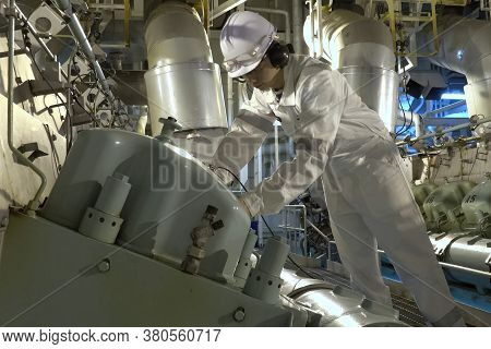 Murmansk, Russia - June 24, 2019: The Engine Compartment Of The Ship. Engine And Steering Equipment.