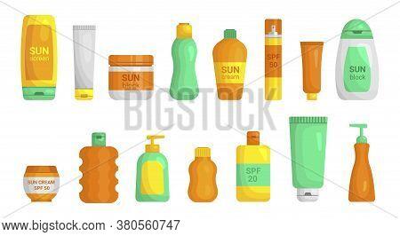 Sunscreen Plastic Jar, Tube, Bottles With Dispenser Mockups Flat Set. Sunburn Protection.