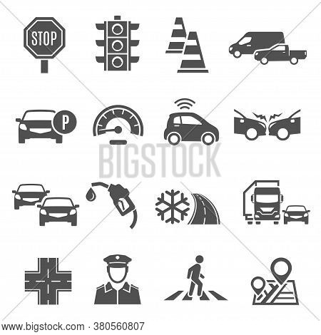 Traffic Lights, Jam, Crosswalk Bold Silhouette Icons Set Isolated On White. Stop Sign, Policeman.