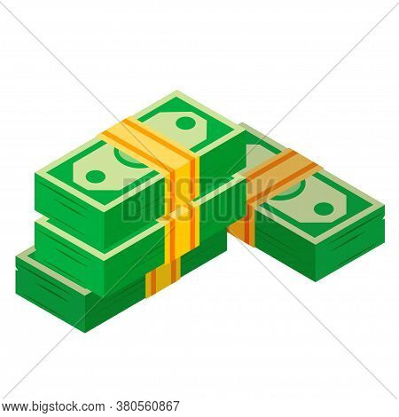 Wads Of Money. Banknotes Piles. Dollars Heap. Financial Savings, Bank Deposit, Pension, Winnings.