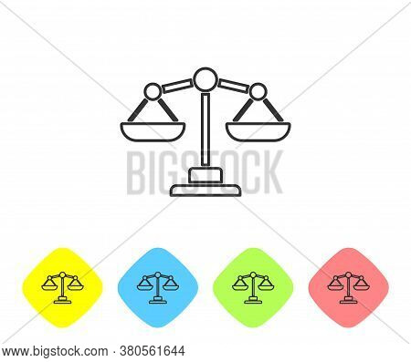 Grey Line Scales Of Justice Icon Isolated On White Background. Court Of Law Symbol. Balance Scale Si