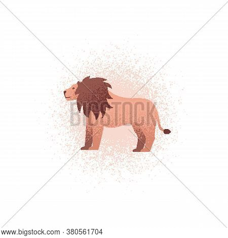 Lion Textured Illustration. Vector Illustration Of A Lion Standing In Profile. Can Be Used As An Ico