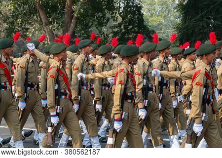Kolkata, West Bengal, India - 26th January 2020 : India's National Cadet Corps's (ncc) Cadets Are Ma
