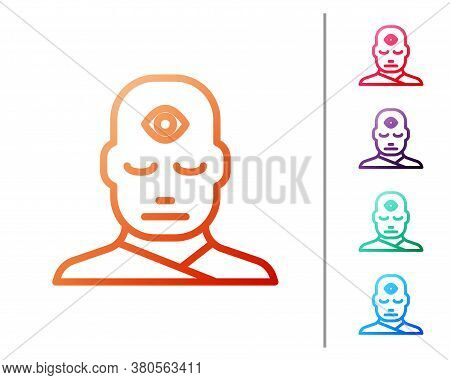 Red Line Man With Third Eye Icon Isolated On White Background. The Concept Of Meditation, Vision Of