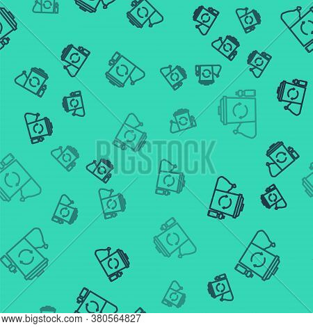Black Line Recycle Bin With Recycle Symbol Icon Isolated Seamless Pattern On Green Background. Trash