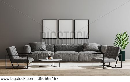 Blank Black Frames Mock Up In Modern Minimalist Living Room Interior  With Gray Sofa, Armchairs And