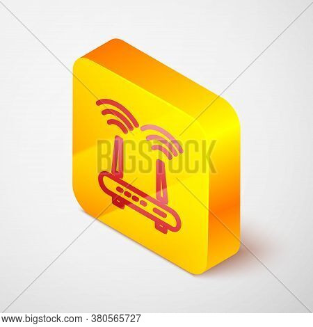 Isometric Line Router And Wi-fi Signal Icon Isolated On Grey Background. Wireless Ethernet Modem Rou