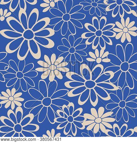 Blue Background With Beige Floral Chamomile Seamless Pattern
