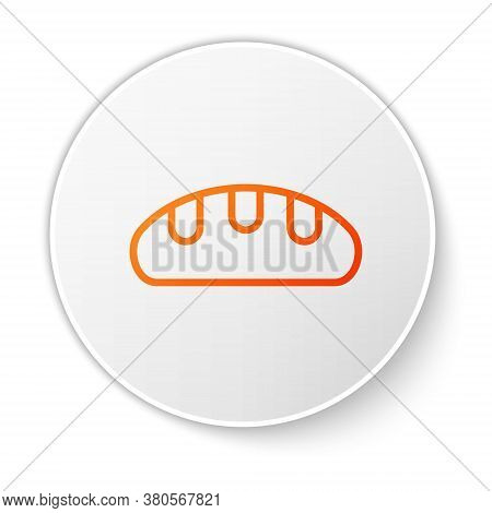 Orange Line Bread Loaf Icon Isolated On White Background. White Circle Button. Vector