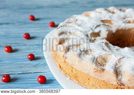 Fresh Homemade Apple Pie On Wooden Background. Closeup Of Charlotte. Christmas Apple Pie.