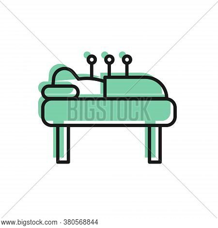 Black Line Acupuncture Therapy Icon Isolated On White Background. Chinese Medicine. Holistic Pain Ma