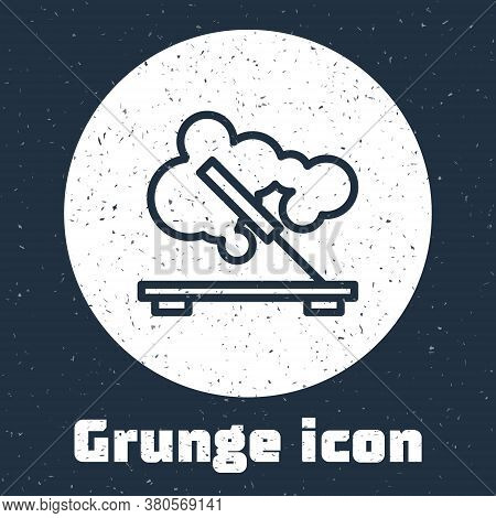 Grunge Line Scented Spa Stick On A Wooden Stand Icon Isolated On Grey Background. Incense Stick. Cos