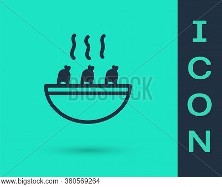 Black Line Soup With Shrimps Icon Isolated On Green Background. Tom Yum Kung Soup. Vector.
