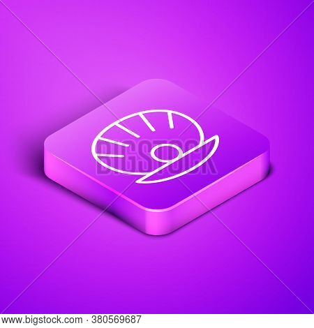 Isometric Line Natural Open Shell With Pearl Icon Isolated On Purple Background. Scallop Sea Shell.