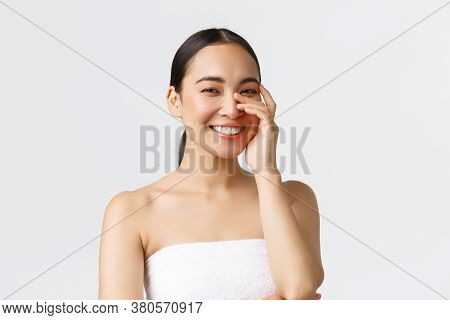 Beauty, Cosmetology And Spa Salon Concept. Close-up Of Gorgeous Asian Woman In Bath Towel Laughing A