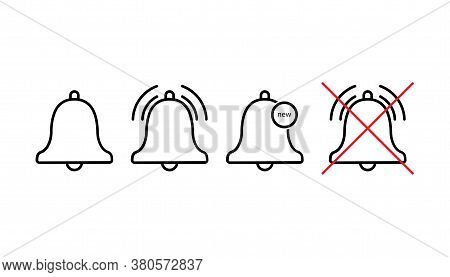 Set Of Notification Ring Bells. Isolated Outline Alert Icons On Transparent Background. New Notifica
