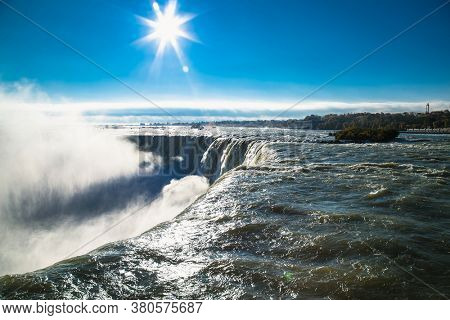 Panoramic view of the American and Canadian Falls at Niagara from  Canada side.