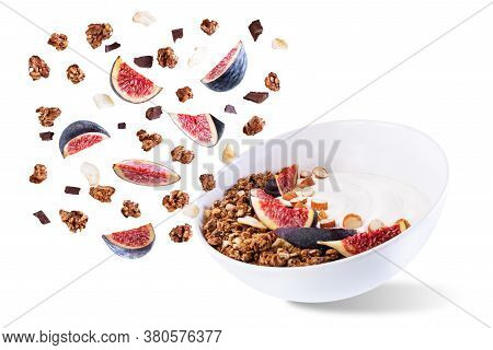 Greek Yogurt Chocolate Nuts Oatmeal Granola With Figs On A White Isolated Background