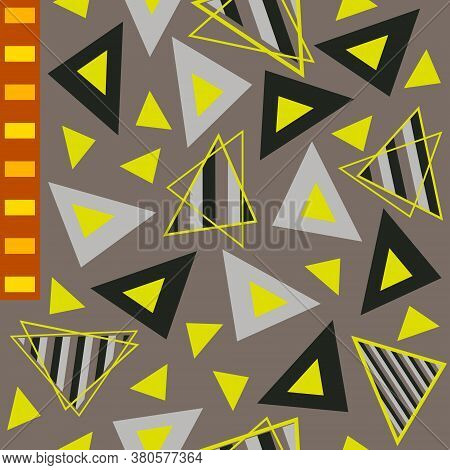 Black, Grey, Neon Yellow, Stripes Filled Triangles And Orangy Reddish Rectangles Geometric Pattern.