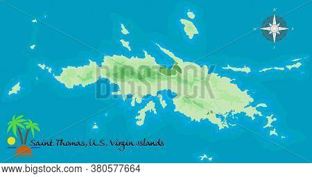 Saint Thomas, U. S. Virgin Island. Realistic Satellite Background Map. Drawn With Cartographic Accur