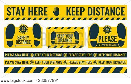 Social Distancing. Please Keep Your Distance. Safe Distance. Place The Yellow Floor Sticker At A Dis