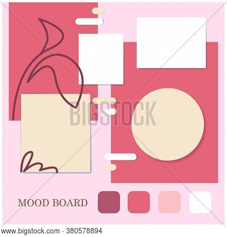Pink Shades Palette Floral Style, Round And Rectangle Shape Mood Board Template. Decorative Vector C