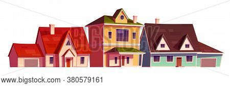 Residential Houses Exterior In Suburb District. Vector Cartoon Set Of Suburban Cottages With Garage,