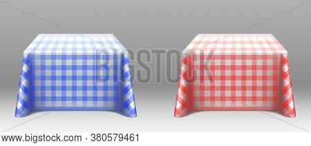 Checkered Tablecloths On Square Tables. Empty Dining Desks With Blue And Red Linen Clothes For Resta