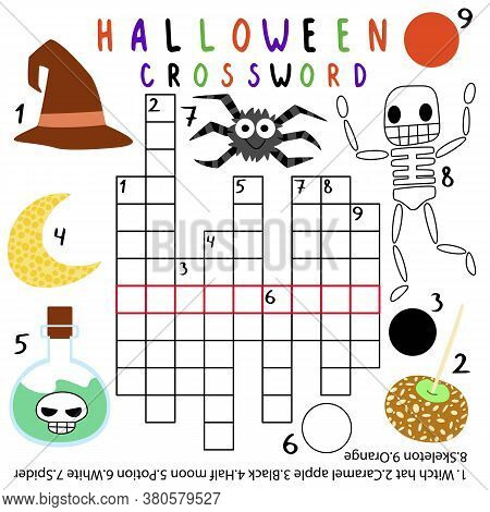 Amusing Halloween Crossword Stock Vector Illustration. Halloween English Words Game. Children Crossw