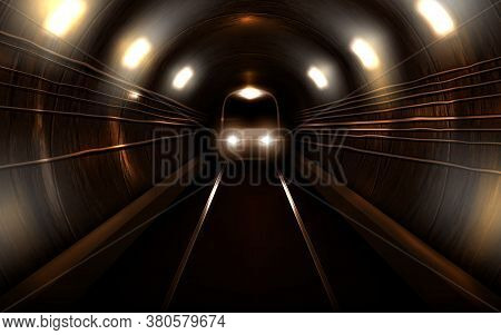Subway Train With Glowing Headlights In Old Rusty Metro Tunnel Front View, Locomotive On Rails. Mode