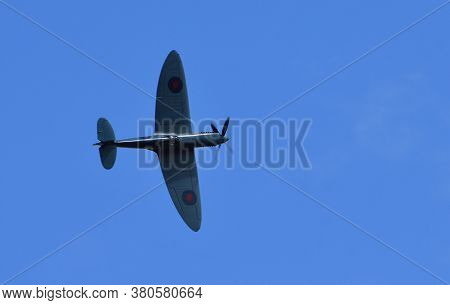 Ickwell, Bedfordshire, England - August 02, 2020: Classic Supermarine Spitfire Pr.xi 'pl983 / R' (g-