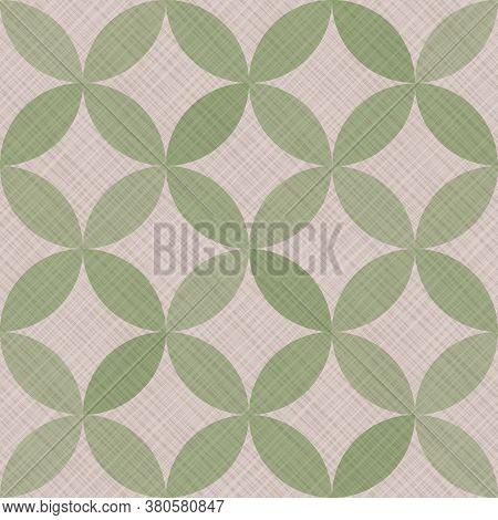 Interlacing Circles Parts Artistic Seamless Vector Pattern. Guatrefoil Flower Green Medieval Endless