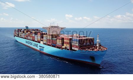 Mediterranean Sea - June 25, 2020: Maersk Hidalgo Mega Container Ship. Ulcv Fully Loaded With Freigh