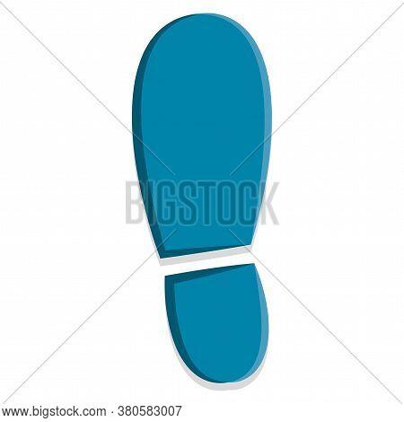 Blue Footprint Icon. Footprint Silhouette - Vector Illustration