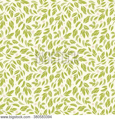 Vector Romantic Ditsy Leaf Floral Seamless Pattern With Hand Drawn Historic Florals On Cream Colored