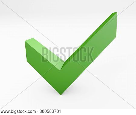 Sign For Approval Confirmation Or Admittance 3d Rendering Isolated On White