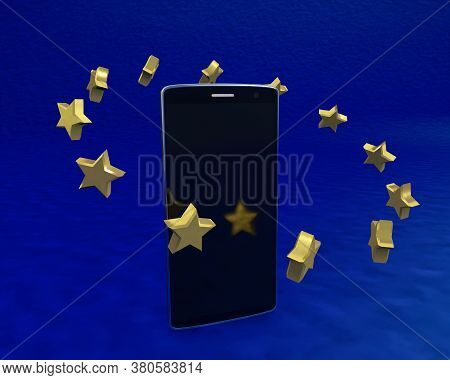 Mobile Telephony Eu Regulated 3d Rendering On Blue Background