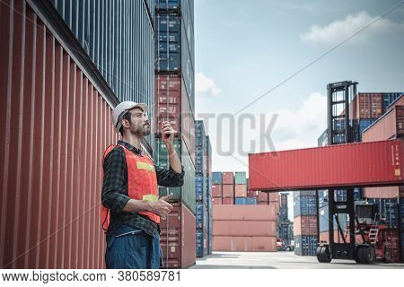 Container Logistics Shipping Management Of Transportation Industry, Transport Engineer Managing Cont