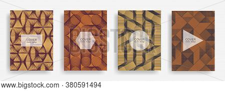 Halftone Shapes Business Catalog Covers Vector Design. Background Patterns With Halftone Triangle, C