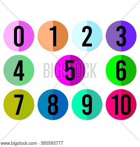 Set Number Vector With Colored Circle Isolated On White Background. Number In Circle Color. Illustra